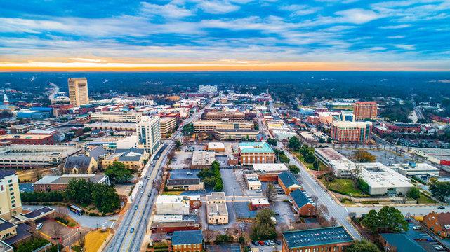 Aerial Panorama of Downtown Spartanburg, South Carolina, USA