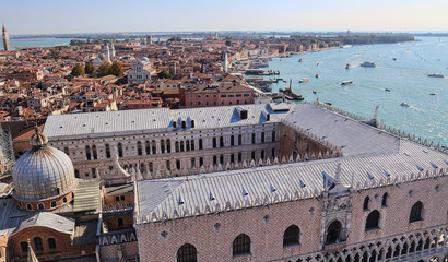 View Doges Palace roof and lagoon of Venice, Italy