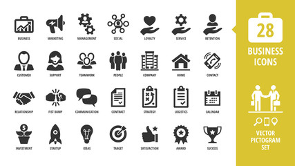 Vector business isolated silhouette icon set with business, marketing, management, social, loyalty, service, retention, handshake, fist bump and more sign.