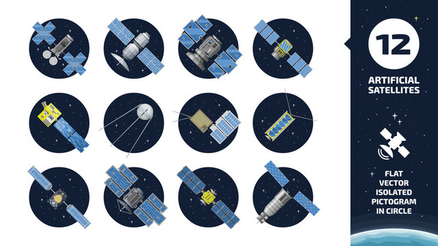 12 vector flat isolated color communication artificial satellite icon in circle space background with GPS tracking radar station, solar panel and dish.