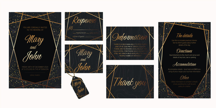 Wedding invite, details, rsvp, thank you label save the date card. Luxury Set of elegant brochure,wedding card, background, cover. Black and golden marble texture.Geometric frame.Trendy wedding  card.