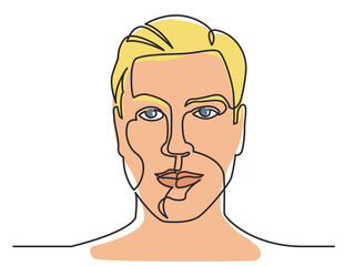 continuous line drawing of good looking man on white background
