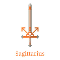 Sagittarius Sword. Zodiac Sign. Flat Cartoon Zodiacal Weapon. One of 12 Zodiac Weapons. Vector Astrological, Horoscope Sign. Vector illustration isolated on white background.