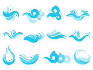 Sea water splash. Spa pool waves, ocean surf tide and waters swirls isolated vector icons illustration set