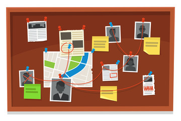 Detective board. Crime evidence connections chart, pinned newspaper and police photos. Investigation evidences vector illustration
