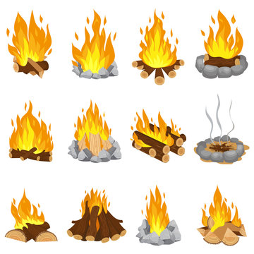 Wood campfire. Outdoor bonfire, fire burning wooden logs and camping stone fireplace cartoon vector illustration set