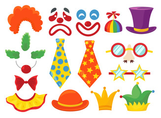 Clown props set, funny colorful booth elements