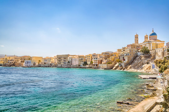 View of Ermoupoli in Syros island, capital of Cyclades Greece