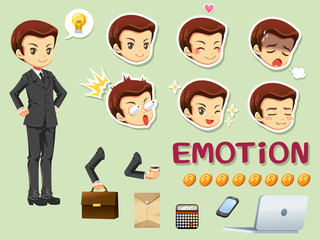 Design character cartoon of businessman and emotion head, vector