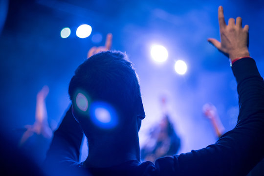 silhouette of man worship