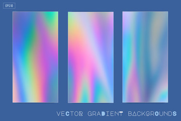 Wall Mural - Abstract Modern pastel colored holographic vector gradient backgrounds in 80s style. Synthwave. Vaporwave style. Retrowave, retro futurism, webpunk. Modern screen design for mobile app