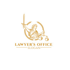 the Greek goddess of justice logo
