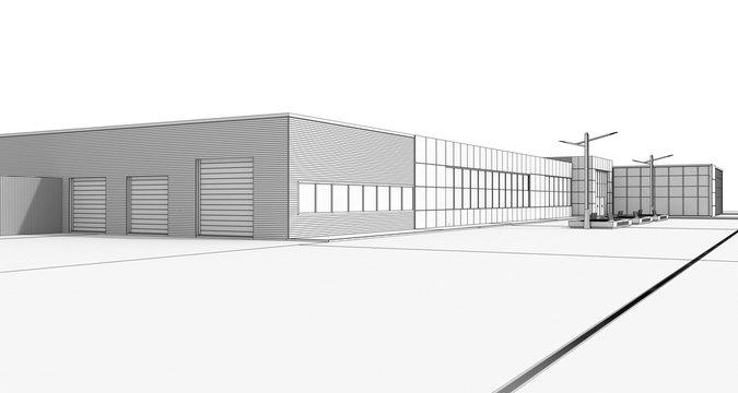 3d render exterior mall