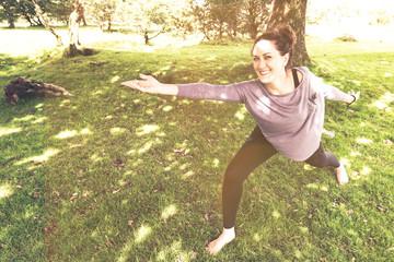 Healthy woman active relaxing outdoor in park