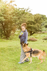 Obedience dog training session outdoor
