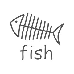 Fish sceleton white sign on dark background. Vector Illustration. EPS 10