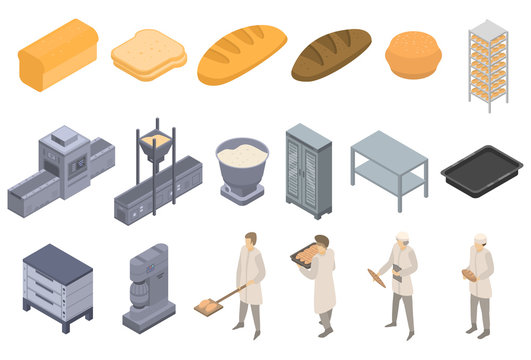 Bakery factory icons set. Isometric set of bakery factory vector icons for web design isolated on white background