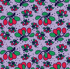viburnum vector lines seamless pattern. Funny doodle healthy food on a light background.