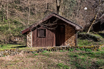 Photo of a rustic house on the woods