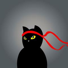 cat ninja illustration vector. a cat with a bandage. martial arts Japan