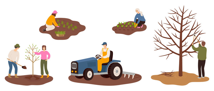Set of happy farmers working on farm planting crops, plant a tree, plowing the field, pruning tree branches. Flat vector illustrations isolated on white background.