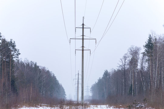 electricity pylon in winter forest