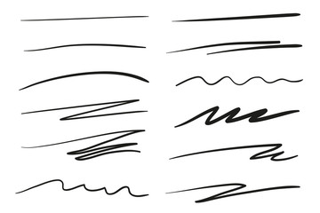 Hand drawn underlines on white. Abstract backgrounds with array of lines. Stroke chaotic patterns. Black and white illustration. Sketchy elements