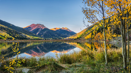 Autumn sunrise at Crystal Lake - Million Dollar Highway - Colorado