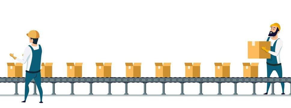 Warehouse Packing Conveyor Belt under Control
