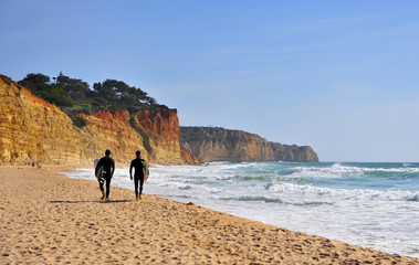 Foto op Canvas Marokko Two men going for surfing, Portugal