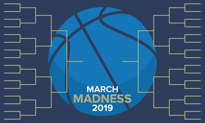 March Madness basketball vector logo and background. US national student basketball championship. Tournament playoff grid. Design with lettering and game ball.