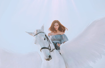 bright sky and sunlight, majestic girl with dark flying hair riding horse, an angel in gray vintage dress with open bare shoulders on back of gorgeous white pegasus with light elegant wings