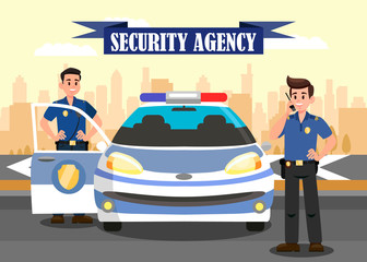 Security Agency Advertising Flat Banner Template