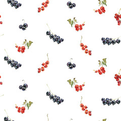 seamless pattern of watercolor red and black currant
