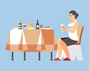 Woman Drinking Champagne Flat Vector Illustration