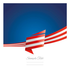 Abstract USA flag ribbon blue background