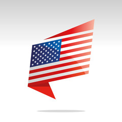 New abstract USA flag origami logo icon button label vector