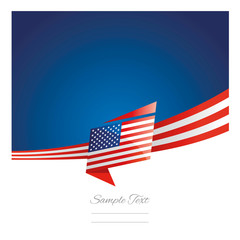 New abstract USA flag ribbon origami blue background vector