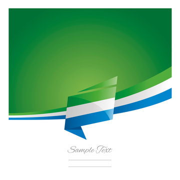 New abstract Sierra Leone flag ribbon origami green background vector