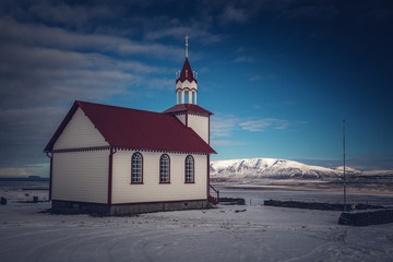 Foto op Aluminium Poolcirkel Church in iceland during winter