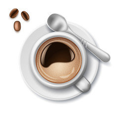 Cup of coffee realistic with coffee beans and spoon on a white background. Flat Lay top view. Vector illustration.