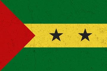 Sao Tome and Principe flag on concrete wall