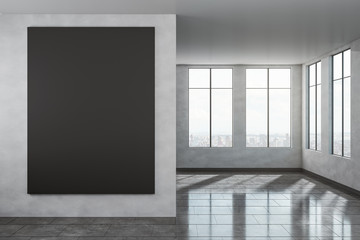 Contemporary interior with empty poster