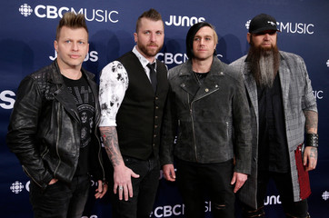 Three Days Grace arrives at the 2019 Juno Awards in London, Ontario, Canada