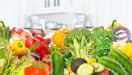 Wall Mural - Vegetables and fruits background.