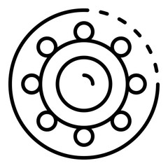 Car bearing icon. Outline car bearing vector icon for web design isolated on white background