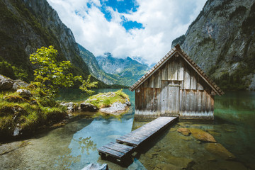Old boat house at Lake Obersee in summer, Bavaria, Germany