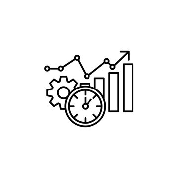Time management, analysis, analytic, data, efficiency, information icon. Element of time management icon. Thin line icon for website design and development, app development