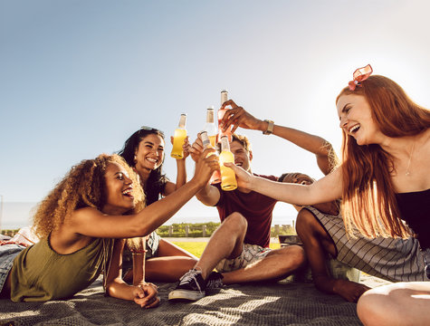 Group of young people partying outdoors