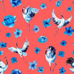 Watercolor seamless pattern with cranes and flowers. Hand drawn illustration